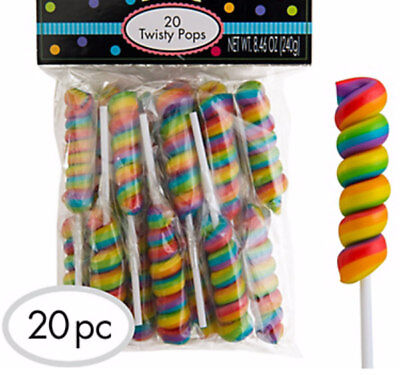 BULK LOLLY 20 x RAINBOW TWISTY POP MULTI FRUIT FLAVOUR PARTY FAVORS CANDY LOLLY