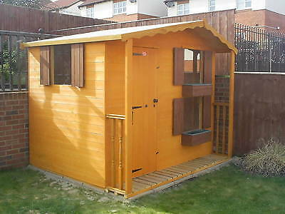 CHILDRENS PLAYHOUSE 8X6 Tanalised with veranda and roof overhang