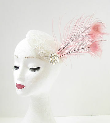 Ivory Cream Light Pink Lace Peacock Feather Fascinator Headpiece Vtg Races 209