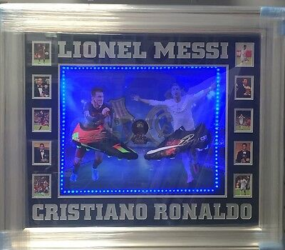 Dual Framed Lionel Messi and Cristiano Ronaldo Signed Boots Rare COA Light Up