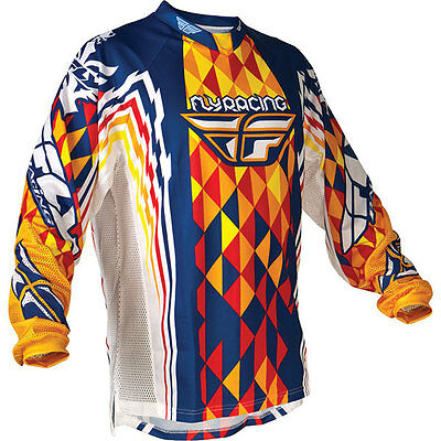Fly Racing Hydrogen Kinetic Motocross/Dirt-Bike Jersey (Blue-Red-Yellow) Small