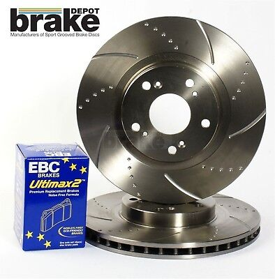 Front Evora Dimpled Grooved Brake Discs & EBC Pads for Land Rover Discovery 2.7