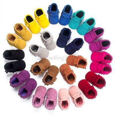 Baby Soft Sole Crib Shoes Infant Boys Girls Toddler Suede Moccasin 0-18 Months