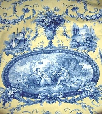 3 Yards Romantic Fragonard Toile Fabric ~ Braemore Textiles ~ Upholstery Drapery
