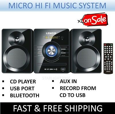 Micro Hi Fi Mini Stereo Bluetooth USB Music System FM Radio Remote CD DVD MP3