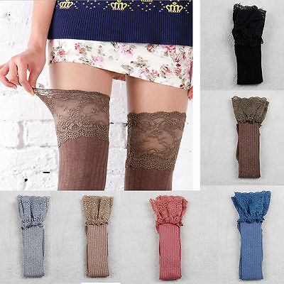 Lady Knitting Lace Cotton Over Knee Thigh Stockings High Socks Pantyhose Tights