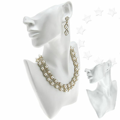 Necklace Bust Pendant Earring Jewellery Shop Display Stand Figurine White