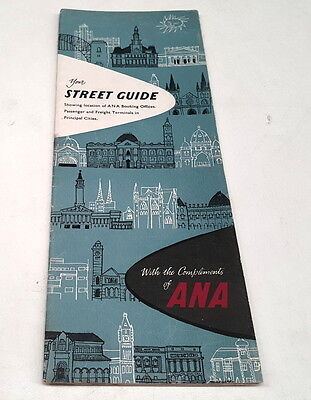 1950s ? ANA AIRLINES Australia - Street Guide to Booking Offices etc RARE
