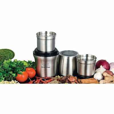 Revel Wet & Dry Grinder with Two Separate Bowls - Stainless Steel - (CCM102)