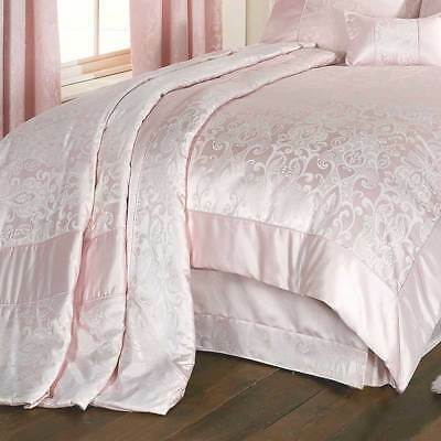 King Size Throw Floral Bed Linen Regency Jacquard Bedroom In Pink Litecraft