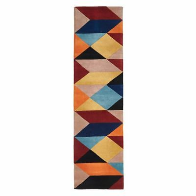 NEW Rug Culture Modern Geo Wool Runner Rug, Sunrise