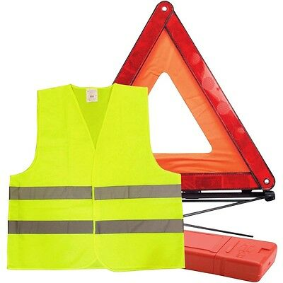Car Warning Triangle Reflective Emergency Breakdown & High Visibility Vest