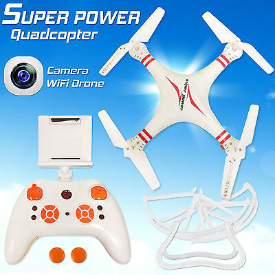 White 6-Axis Quadcopter Drone WIFI 2.0 MP Camera FPV RC Drone Helicopter UK