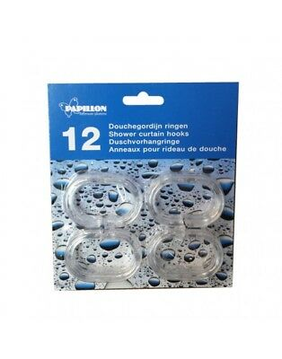 1 12 24 36 x  C SHAPE CLEAR PLASTIC SHOWER CURTAIN RINGS HOOKS FOR ROD POLE RING