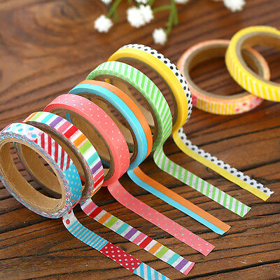 3/6/15 Pcs 5M Paper Sticky Adhesive Sticker Decorative Scrapbooking Washi Tapes