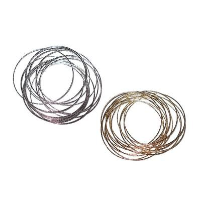 Set of 15 Thin Texture Glittery Metal Bangles Bracelets Gold Silver