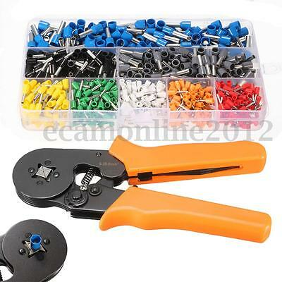 Set of 800 Crimp Connector Terminal +Adjustable Ratcheting Ferrule Crimper Plier