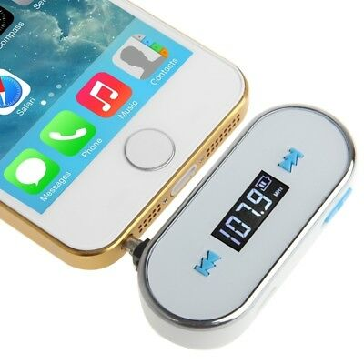 NUOVO White 3.5mm Jack FM Transmitter, For iPhone, Galaxy, Huawei, Xiaomi, LG,