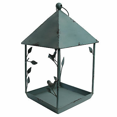 Large Distressed Duck Egg Blue Metal Hanging Garden Bird Feeder