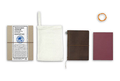 Midori Traveler's Notebook Passport size - Starter kit Brown (brun)