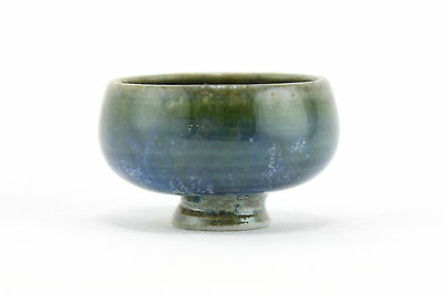 A miniature Hoganas footed bowl. Signed V.P. Swedish pottery.