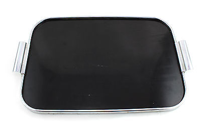 An original art deco black & chrome serving tray. English. D. Harris Ltd.