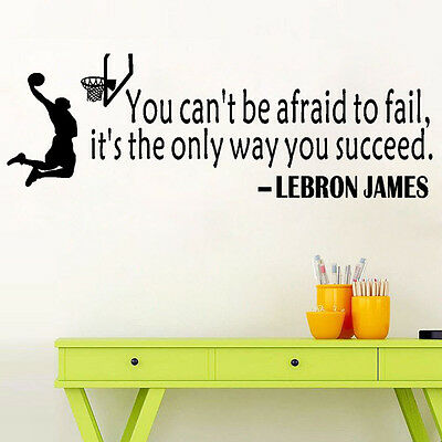 LeBron James Quote Way To Succeed Wall Sticker Basketball Sport Decal Kid Room