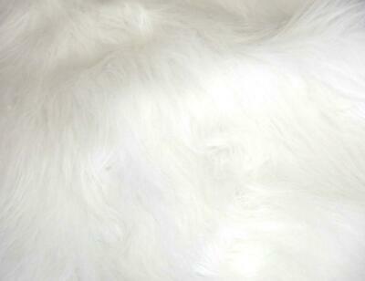 LONG Pile Fun Faux Fur Fabric Material - BRIGHT WHITE
