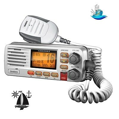 Uniden UM380 White VHF Radio With USA, International & Canadian Marine Channels
