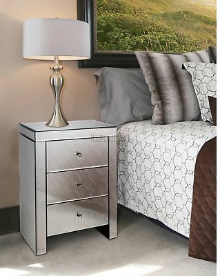 FoxHunter Mirrored Furniture Glass 3 Drawer Bedside Cabinet Table Bedroom MBC01