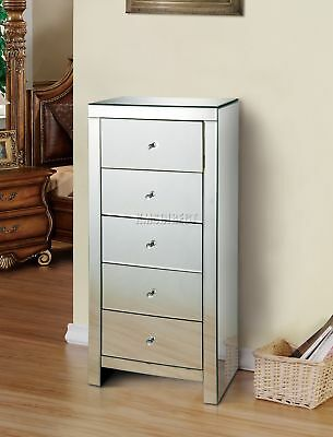 FoxHunter Mirrored Furniture Glass 5 Drawer Tallboy Chest Cabinet Bedroom MTC01