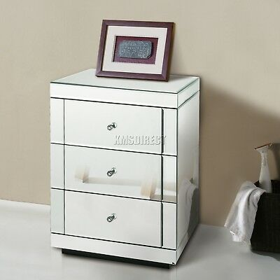 FoxHunter Mirrored Furniture Glass 3 Drawer Bedside Cabinet Table Bedroom MBC05