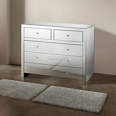 FoxHunter Mirrored Furniture Glass 2 Over 3 Drawer Chest Cabinet Bedroom MC04