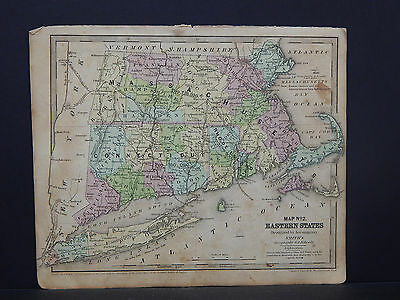 Antique Map 1843 Smith's Geography, Massachusetts, Rhode Island, Connecticut