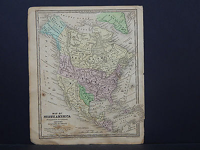 Antique Map 1839 Smith's Geography, North America, Texas, United States, Canada