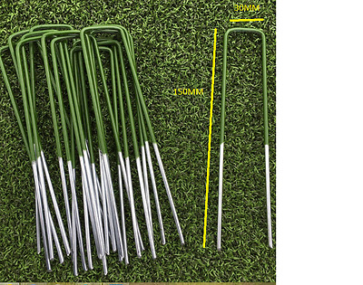 Green Artificial Grass Turf U Pins Metal Galvanised Pegs Staples Weed Control