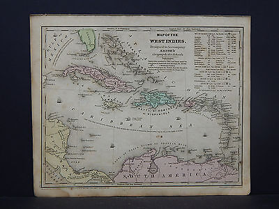 Antique Map 1844 Smith's Geography, West Indies, Cuba, Jamaica, Haiti