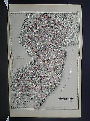 United States, Antique Map, 1886 O.W. Gray S1#13 New Jersey