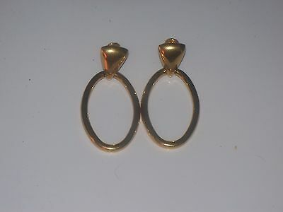 Vintage Gold Tone Door Knocker Clip-On Earrings