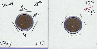 Italy 1 Cent Bronze Coin 1915 Choice Very Fine Condition Cat#40