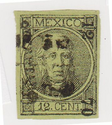(MCO-7) 1868 Mexico 12c black on green