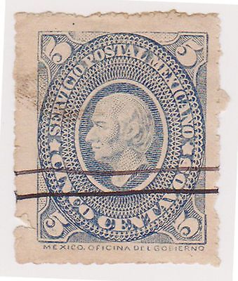 (MCO-30) 1884 Mexico 5c blue HILDARGO (tear space filler)