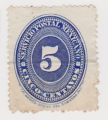 (MCO-42) 1886 Mexico 5c blue (A) MNG