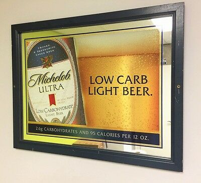 Michelob Ultra Low Carb Light Beer     Mirror Anheiser Busch Beer Sign     AB