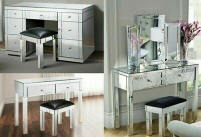 FoxHunter Mirrored Furniture Glass Dressing Table With Drawer Console Bedroom