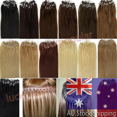 "DIY Easy Micro Bead Loop Ring Remy Human Hair Extensions AAAAAAA 18"" 20"" 22"" AU"