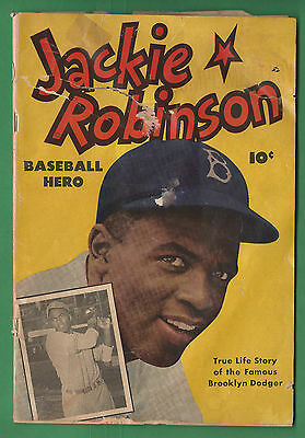 JACKIE ROBINSON 1 Baseball Hero Comic Brooklyn Dodgers Fawcett 1949 Complete GD-