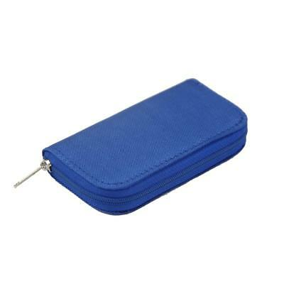 Blue 22 Slots SD/CF/XD Micro Memory Card Pouch Case Holder Wallet Bag Box