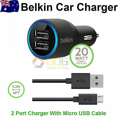 BELKIN CAR CHARGER & MICRO USB CABLE FOR SAMSUNG GALAXY S6,Note 4,S4 S3 S7 S/ACE