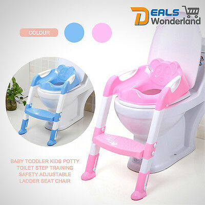 Safety Adjustable Ladder Seat Chair Baby Toddler Kids Potty Toilet Step Training